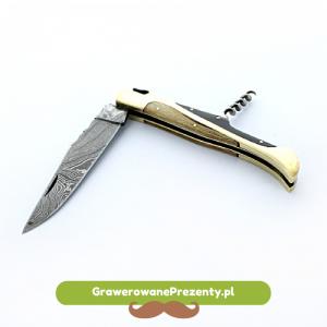Nóż składany ze stali damasceńskiej - prezent z okazji imienin