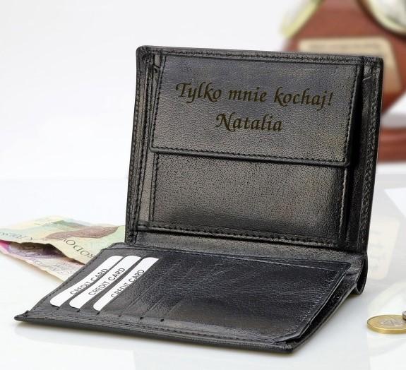 portfel skorzany z grawerem