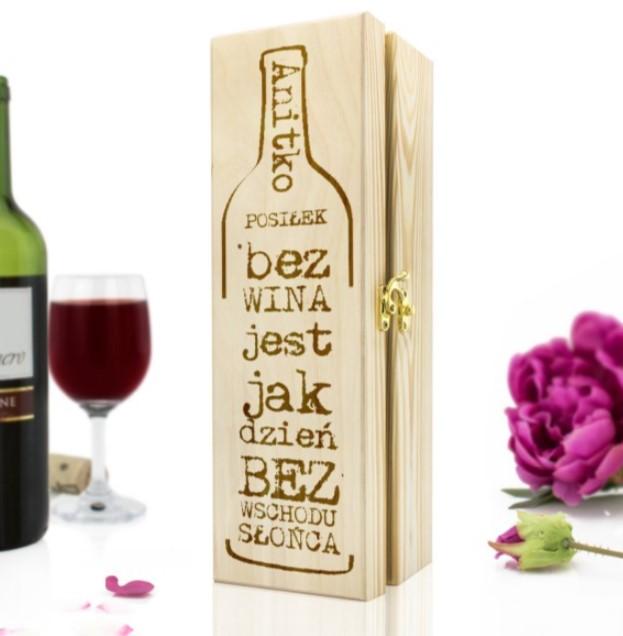 skrzynka na wino z grawerem