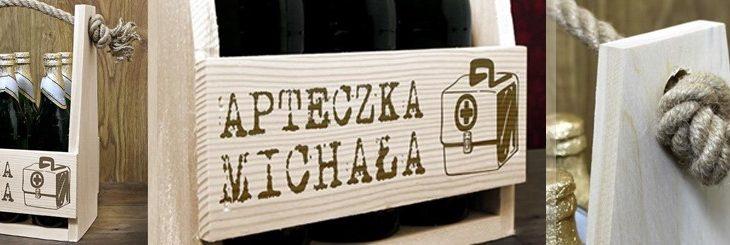 Drewniana skrzynka na alkohol -nosidełko na piwo na prezent