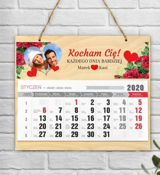 kalendarz na walentynki drewniany