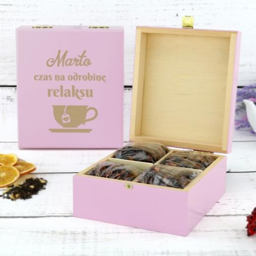 pudelko na herbate prezent personalizowany