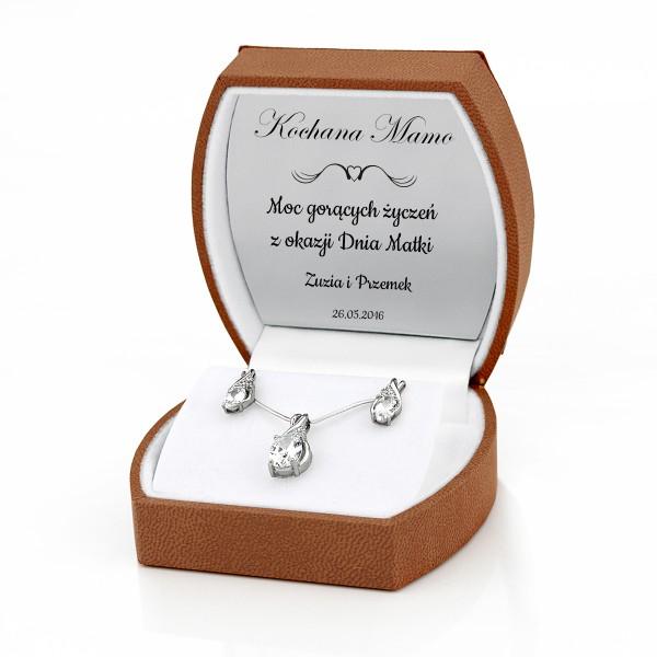 Komplet srebrnej biżuterii z grawerem dedykacji dla mamy