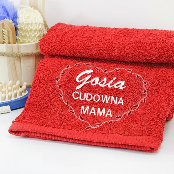 Ręcznik z haftem dedykacji dla mamy
