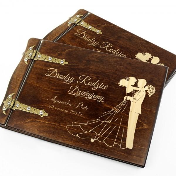 drewniane albumy na podziękowanie dla rodziców