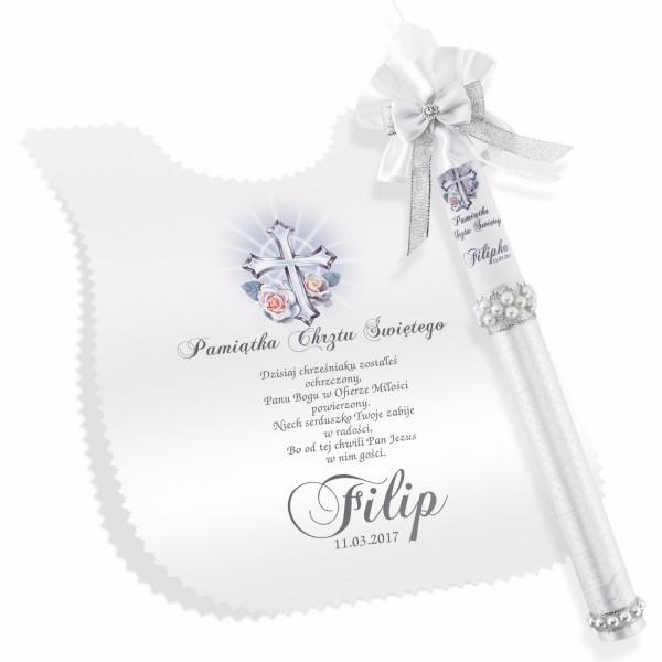 personalizowany zestaw do chrztu szatka i świeca