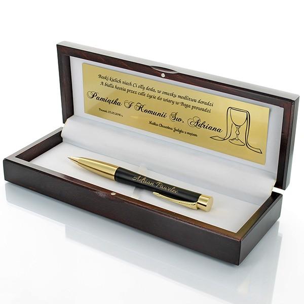 długopis z grawerem w pudełku na prezent na Komunię dla chłopca