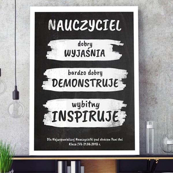 plakat z personalizacją w ramie na prezent dla nauczyciela
