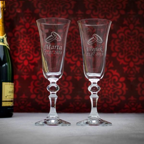 szkło z grawerem na prezent ślubny kieliszki do szampana