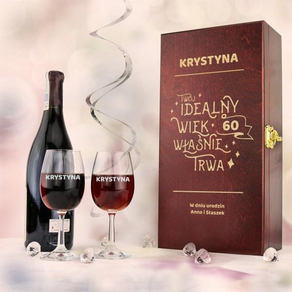 skrzynka na wino z grawerem na prezent na 60 urodziny dla niej