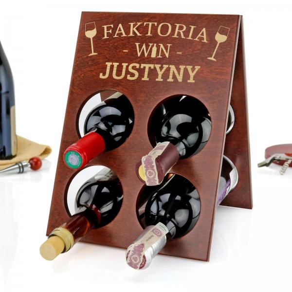 Prezent na urodziny przyjaciółki drewniany stojak na wino z grawerem