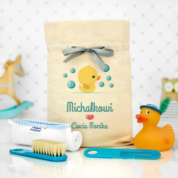 prezent na narodziny dziecka akcesoria do kąpieli z personalizacją