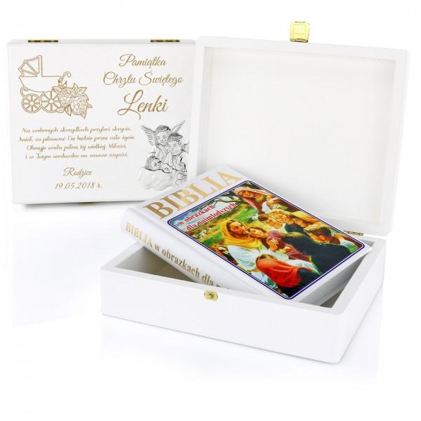 jaki prezent na chrzest dla dziewczynki biblia dla dzieci w pudełku z personalizacją