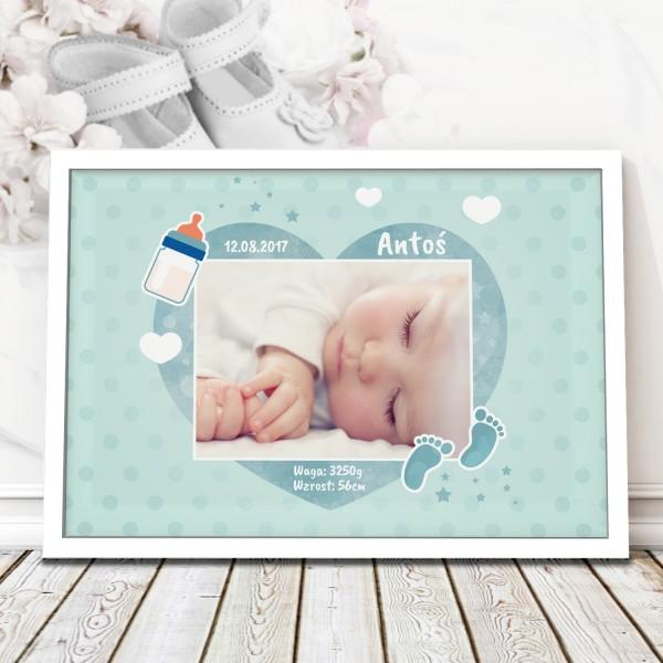 personalizowana metryczka w ramie na prezent na chrzest dla chłopca