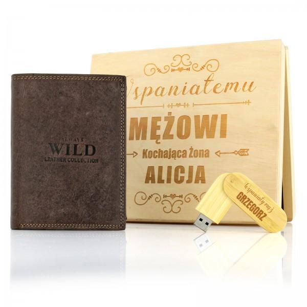 grawerowany zestaw w skrzynce skórzany portfel i pendrive na prezent na rocznicę ślubu