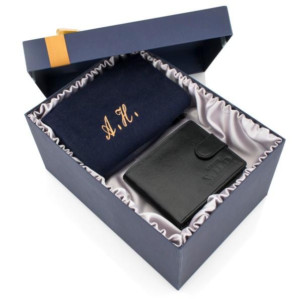 elegancki prezent dla mężczyzny zestaw portfel i szalik z personalizacją
