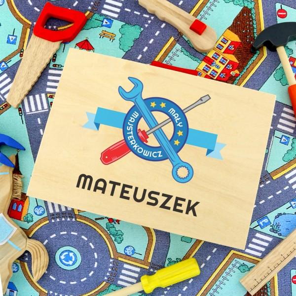 drewniana skrzynka mały majsterkowicz - prezent na mikołaja dla dziecka