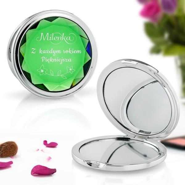 zielone lusterko kosmetyczne z grawerem dedykacji na prezent urodzinowy dla dziewczyny