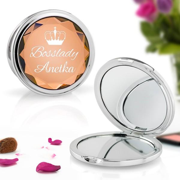 złote lusterko kosmetyczne z grawerem dedykacji na prezent dla niej