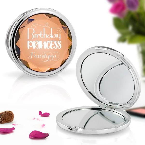 złote lusterko kosmetyczne z grawerem dedykacji na prezent urodzinowy dla dziewczyny