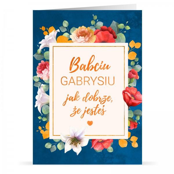 kartka składana z nadrukiem personalizacji na prezent na dzień babci