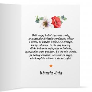 życzenia dla babci na wewnętrznej stronie kartki z okazji dnia babci
