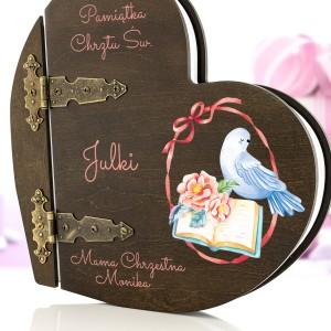 Album drewniany z nadrukiem na prezent na chrzest