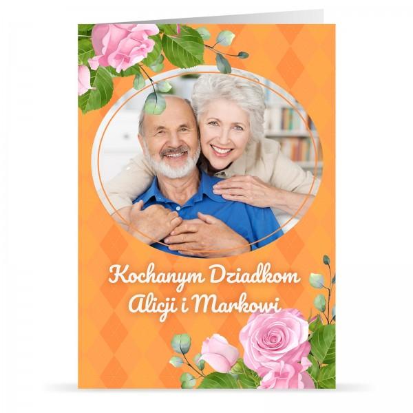 kartka świąteczna z nadesłanym zdjęciem i drukiem życzeń na prezent na dzień babci i dziadka
