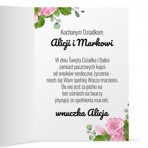 piękna kartka dla babci i dziadka z nadrukiem nadesłanego zdjęcia i kolorowym nadrukiem życzeń i personalizacją na prezent dla babci i dziadka