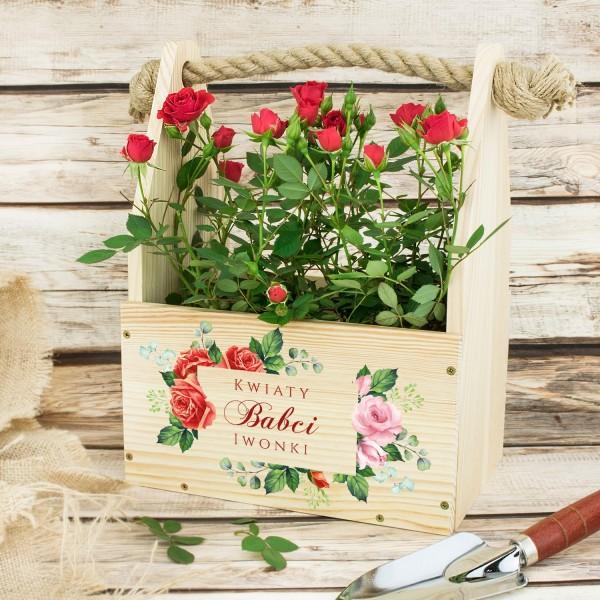 drewniana doniczka na kwiaty z nadrukiem na prezent nadzień babci