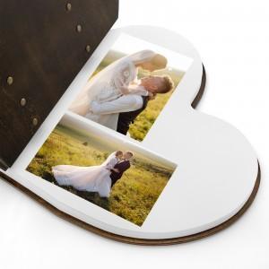 drewniany album na zdjęcia serce