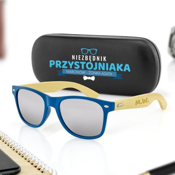 okulary przeciwsłoneczne i etui z nadrukiem na prezent dla męża