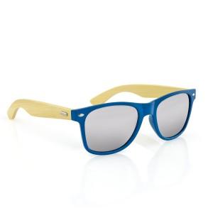 bambusowe okulary przeciwsłoneczne z niebieskimi tarczami na prezent dla męża na walentynki