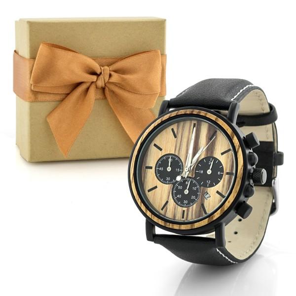 pudełko prezentowe i drewniany zegarek na prezent dla taty