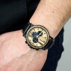 elegancki drewniany zegarek na rękę na prezent dla taty na imieniny