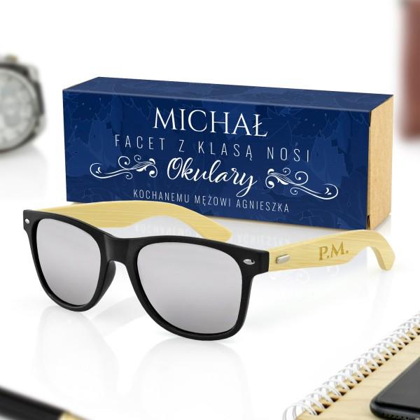 czarne okulary przeciwsłoneczne w pudełku z obwolutą na prezent dla męża