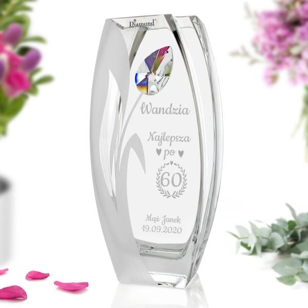 elegancki wazon z kryształem Swarowski na prezent dla żony z okazji 60 urodzin