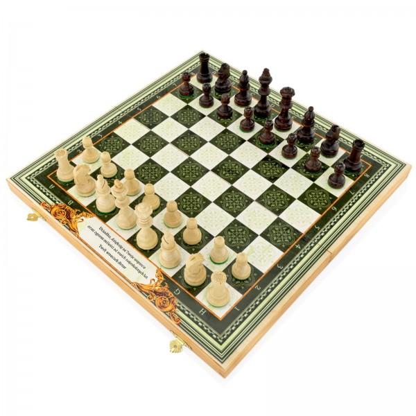 szachy toczone w drewna grabu w stylizowanej kasecie na prezent dla dziadka