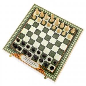 klasyczne szachy turniejowe z autorskim nadrukiem szachownicy na prezent dla dziadka na urodziny