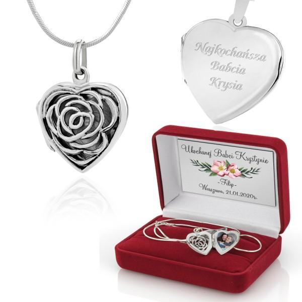 srebrny sekretnik w kształcie serca z personalizacją i pudełkiem na prezent dla babci