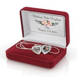 spersonalizowany srebrny sekretnik w pudełku z nadrukiem dedykacji na prezent na dzień babci