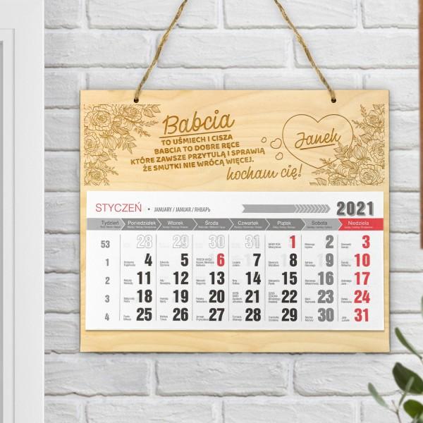 kalendarz ścienny z grawerem dla babci