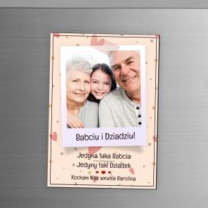 nadruk dedykacji i zdjęcia na magnesie na lodówkę na prezent dla dziadków