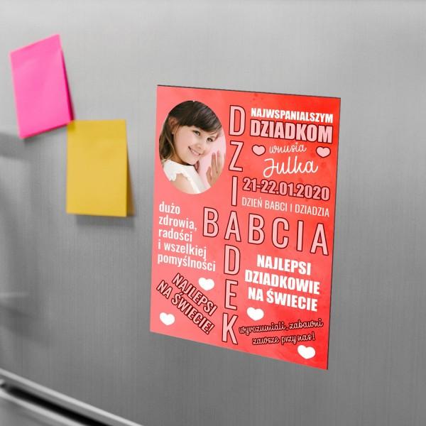 magnes na lodówkę ze zdjęciem i personalizacją na prezent na dzień dziadka i babci