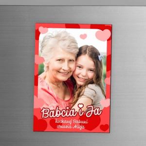 nadruk dedykacji i zdjęcia na magnesie na lodówkę na prezent z okazji dnia babci