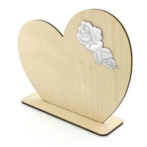 emblemat róży na statuetce serce ze sklejki na podstawce na prezent dla babci i dziadka