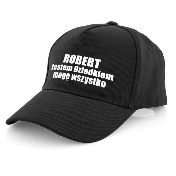 czarna czapka z daszkiem z nadrukiem imienia