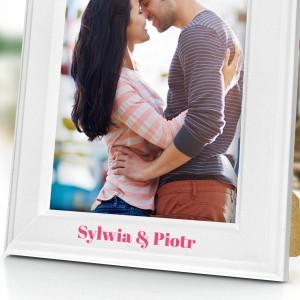 ramka z nadrukiem dedykacji na zdjęcia na prezent na upominek dla pary