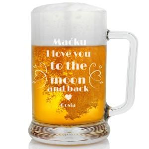 grawer dedykacji na kuflu do piwa na walentynki na upominek dla ukochanego
