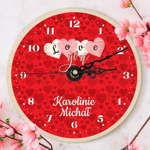 zegar z nadrukiem na walentynki dla ukochanej